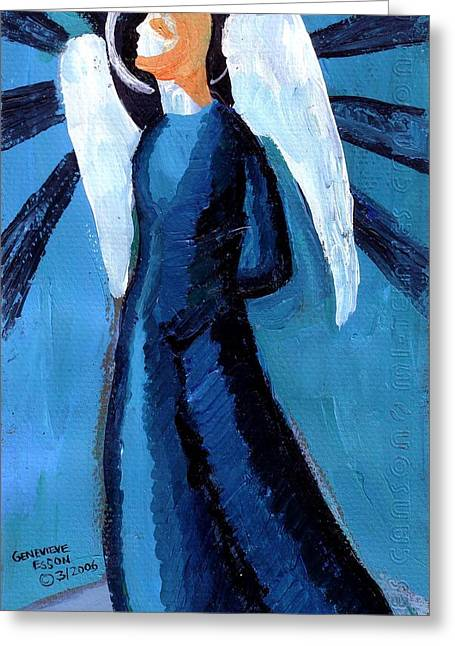 Religious Paintings Greeting Cards - Adrongenous Angel Greeting Card by Genevieve Esson