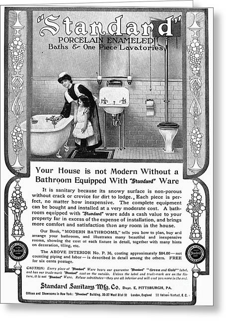 Early Sink Greeting Cards - Ads: Bathroom, 1905 Greeting Card by Granger