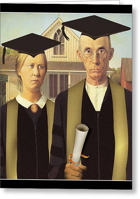 Grant Wood Greeting Cards - Adult Graduates Greeting Card by Gravityx Designs