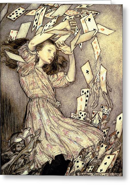 Shower Head Greeting Cards - Adventures in Wonderland Greeting Card by Arthur Rackham