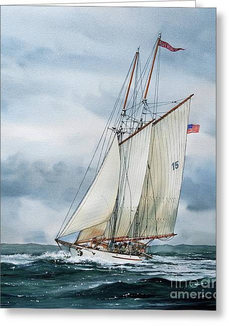 Schooner Paintings Greeting Cards - Adventuress Greeting Card by James Williamson