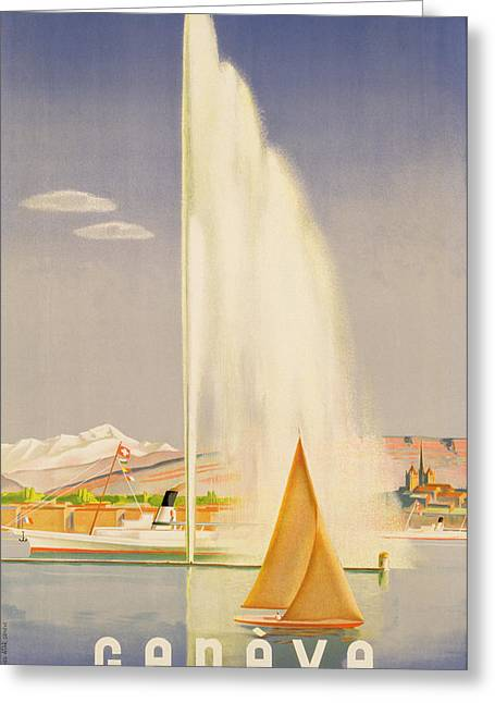 1930s Paintings Greeting Cards - Advertisement for travel to Geneva Greeting Card by Fehr