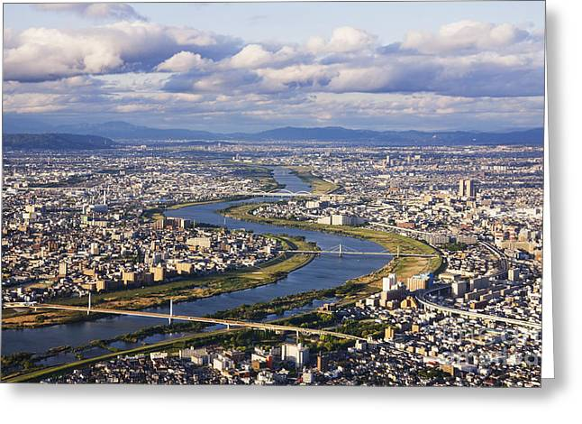 Office Space Photographs Greeting Cards - Aerial Japanese Cityscape and River Greeting Card by Jeremy Woodhouse