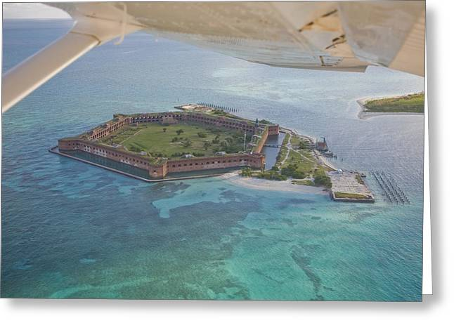 Dry Tortugas National Park Greeting Cards - Aerial Of Fort Jeffereson, At Dry Greeting Card by Mike Theiss
