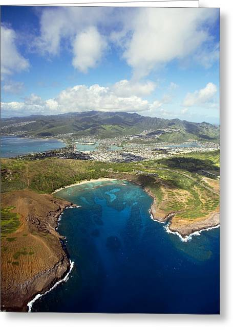Snorkel Greeting Cards - Aerial of Hanauma Bay Greeting Card by Ron Dahlquist - Printscapes