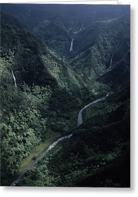 Fissure Greeting Cards - Aerial Of Olekole Canyon Greeting Card by Ira Block