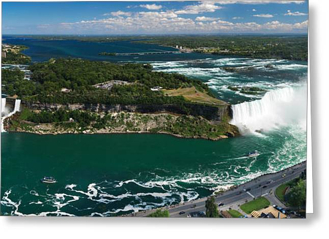 Outlook Greeting Cards - Aerial Panoramic View of Niagara Falls Greeting Card by Oleksiy Maksymenko