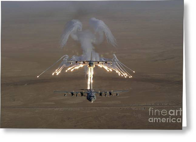 Emitting Greeting Cards - Aerial Shot Over Iraq Of A Kc-130 Greeting Card by Stocktrek Images