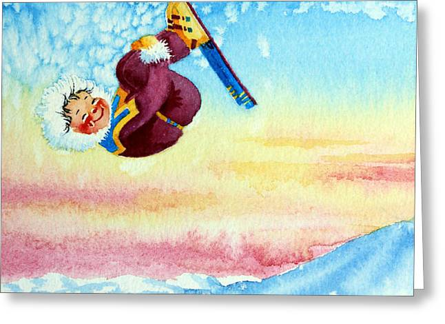 Aerial Skier 13 Greeting Card by Hanne Lore Koehler