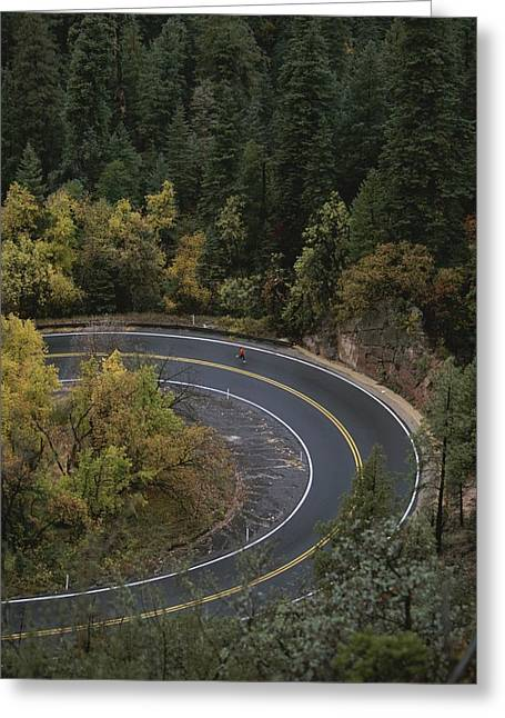 Oak Creek Greeting Cards - Aerial View Of A Runner On A Winding Greeting Card by John Burcham