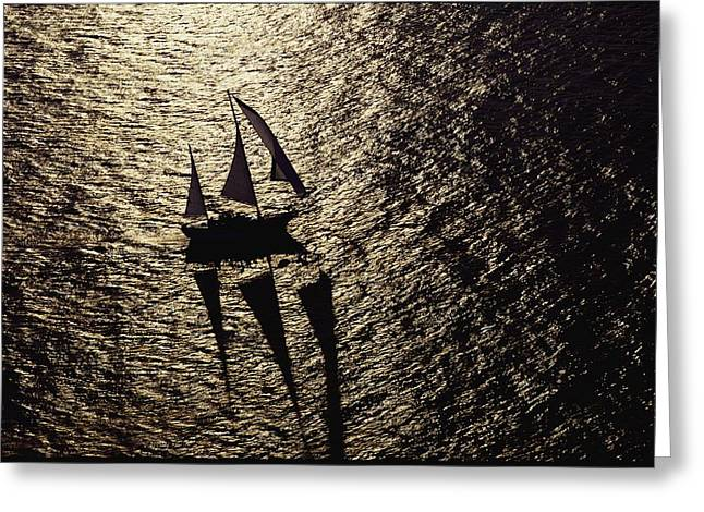Hilton Greeting Cards - Aerial View Of A Sailing Vessel At Sea Greeting Card by Kenneth Garrett
