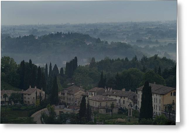 Hilltown Greeting Cards - Aerial View Of An Italian Hilltown Greeting Card by Todd Gipstein