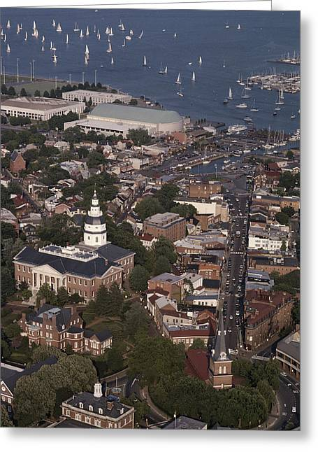 Scenes And Views Photographs Greeting Cards - Aerial View Of Annapolis. The Greeting Card by Annie Griffiths