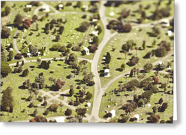 Graveyard Road Greeting Cards - Aerial View of Cemetery Greeting Card by Eddy Joaquim