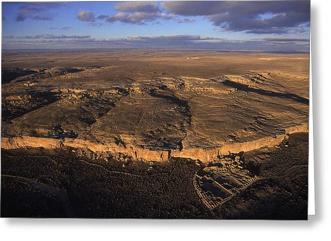 Pre Columbian Architecture And Art Greeting Cards - Aerial View Of Chaco Canyon And Ruins Greeting Card by Ira Block