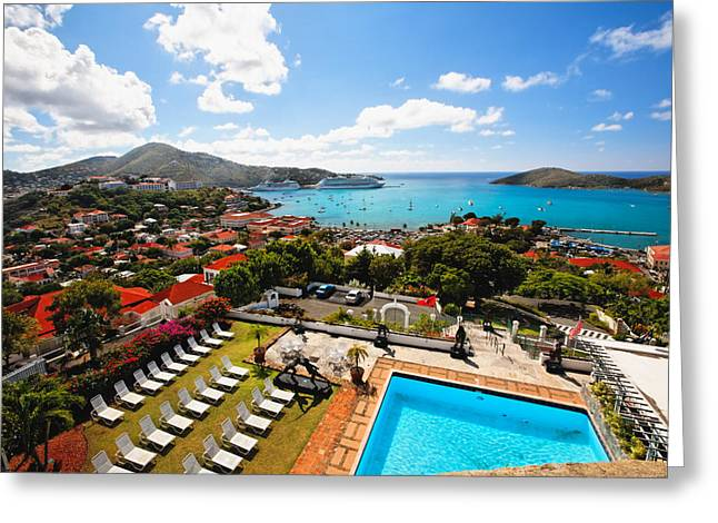 Ocean Panorama Greeting Cards - Aerial View of Charlotte Amalie Greeting Card by George Oze