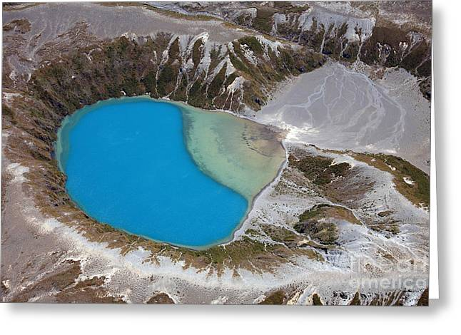 Crater Lake View Greeting Cards - Aerial View Of Crater Lake In Tongariro Greeting Card by Richard Roscoe