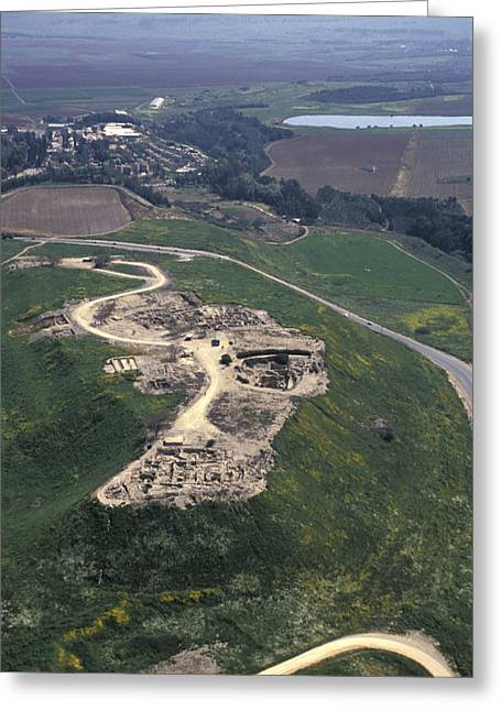 Tels Greeting Cards - Aerial View Of Excavations In Tel Greeting Card by Richard Nowitz