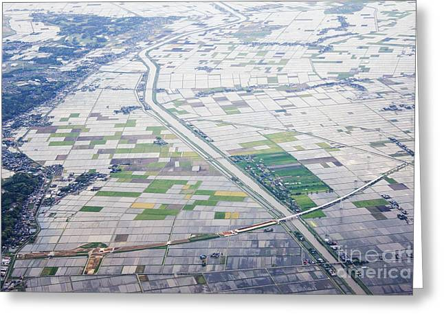 Aerial View of Flooded Farmland Greeting Card by Jeremy Woodhouse