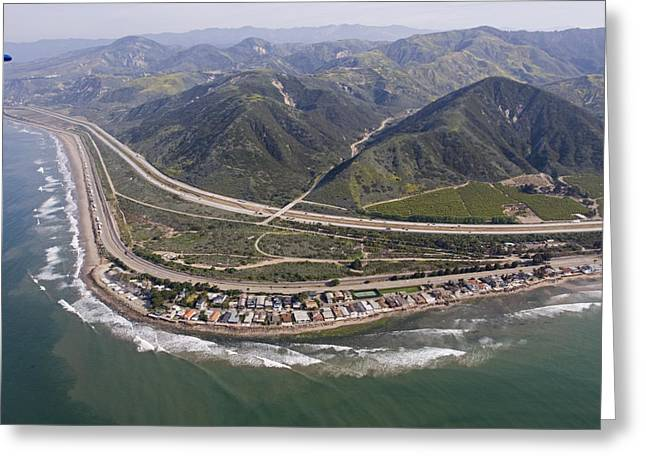 Rincon Beach Greeting Cards - Aerial View Of Highway 1 As It Meets Greeting Card by Rich Reid