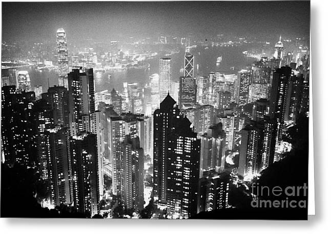 Aerials Greeting Cards - Aerial View Of Hong Kong Island At Night From The Peak Hksar China Greeting Card by Joe Fox