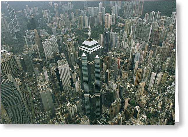 Art Of Building Greeting Cards - Aerial View Of Hong Kongs Skyline Seen Greeting Card by Justin Guariglia