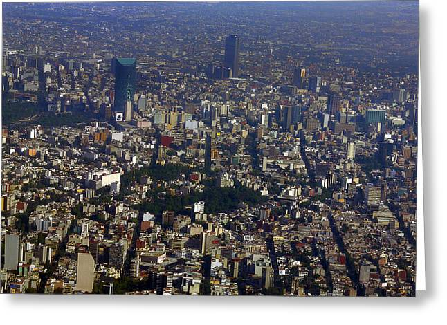 Mexico City Greeting Cards - Aerial view of Mexico Greeting Card by Raul Touzon
