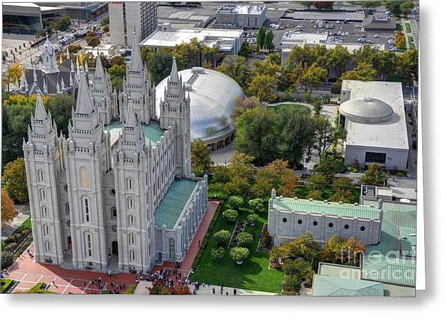 Mormon Tabernacle Greeting Cards - Aerial view of Mormon - LDS - Temple Square in Salt Lake City - Utah Greeting Card by Gary Whitton