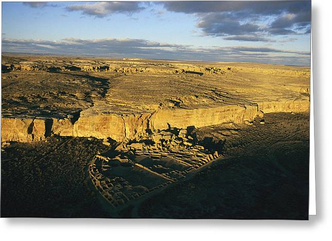 Scenes And Views Photographs Greeting Cards - Aerial View Of Pueblo Bonito In Chaco Greeting Card by Ira Block