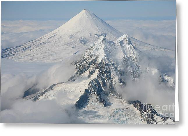 Land Feature Greeting Cards - Aerial View Of Shishaldin Volcano Greeting Card by Richard Roscoe