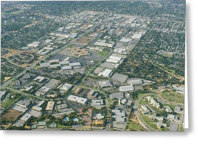 Silicon Valley Greeting Cards - Aerial View Of Silicon Valley Greeting Card by Credit : David Parker
