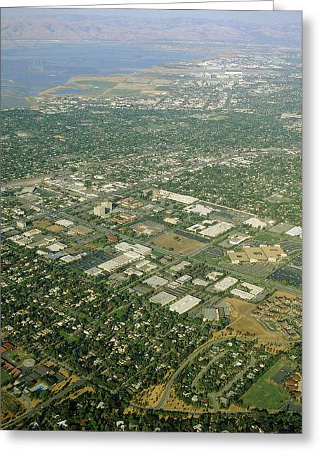 Silicon Valley Greeting Cards - Aerial View Of Silicon Valley Greeting Card by David Parker