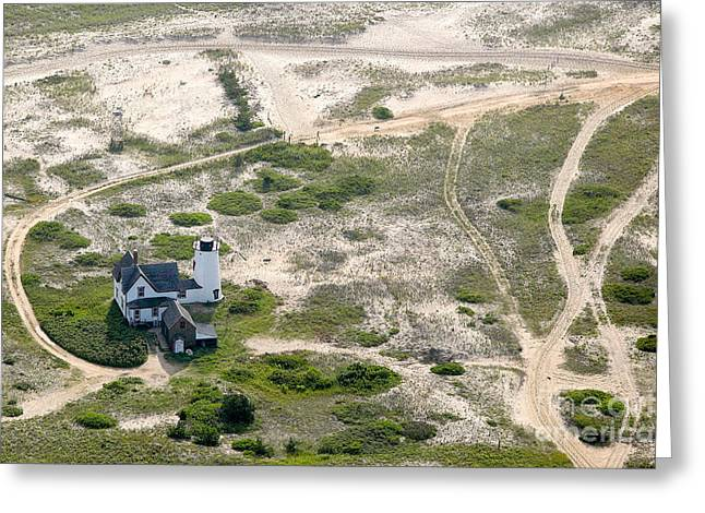 Chatham Greeting Cards - Aerial view of Stage Harbor Light in Chatham on Cape Cod Massac Greeting Card by Matt Suess