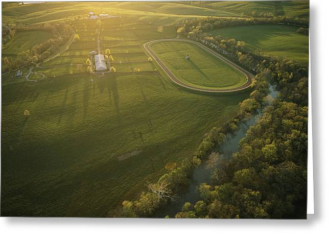 Farmers And Farming Greeting Cards - Aerial View Of Stone Farm Greeting Card by Melissa Farlow