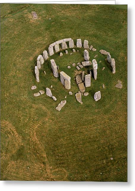 Rounded Circular Greeting Cards - Aerial View Of Stonehenge Greeting Card by David Parker