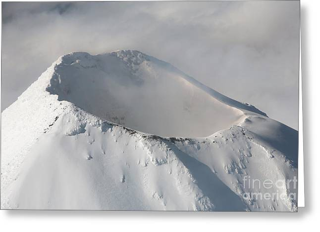 Aerial View Of Summit Of Shishaldin Greeting Card by Richard Roscoe