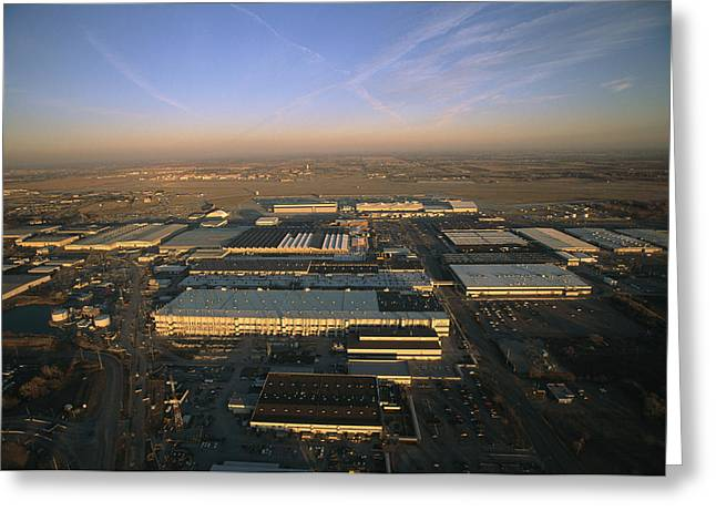 Aerospace Industry Greeting Cards - Aerial View Of The Boeing Factory Greeting Card by Ira Block