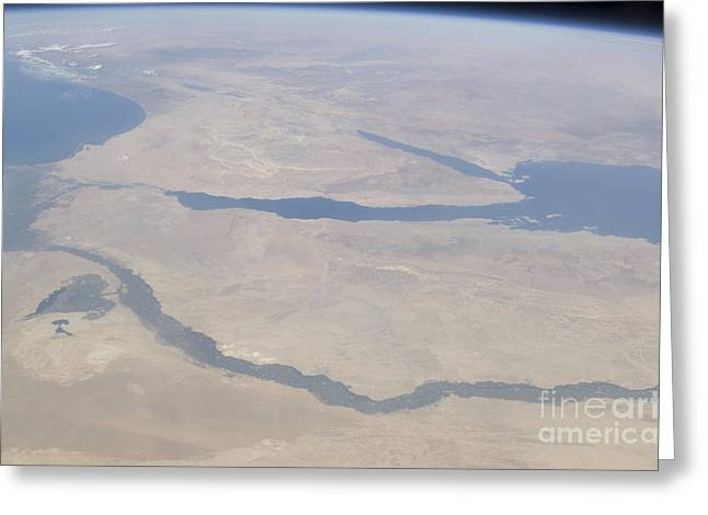 River View Greeting Cards - Aerial View Of The Egypt And The Sinai Greeting Card by Stocktrek Images