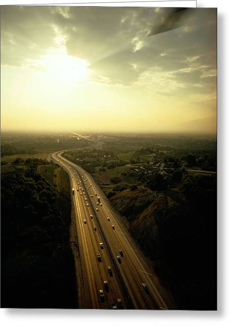 Los Angeles Freeways Greeting Cards - Aerial View Of The Freeway Looking Greeting Card by James P. Blair