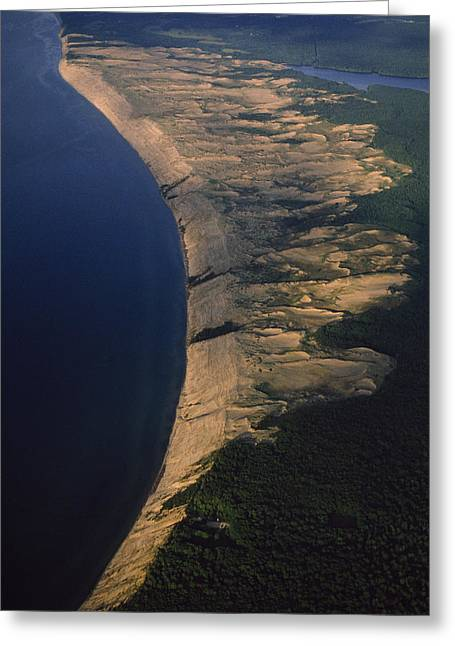 Aerial View Of The Grand Sable Dunes Greeting Card by Phil Schermeister