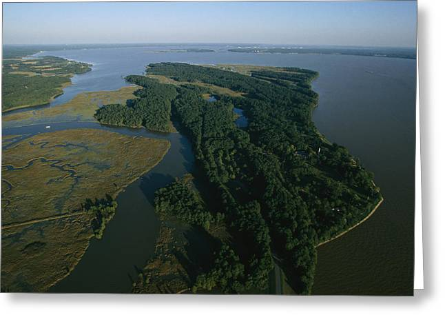 Aerial View Of The James River Greeting Card by Ira Block