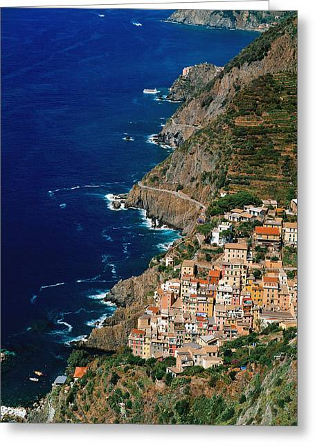 Italian Riveria Greeting Cards - Aerial View Of Town On Cliff Side Greeting Card by Axiom Photographic