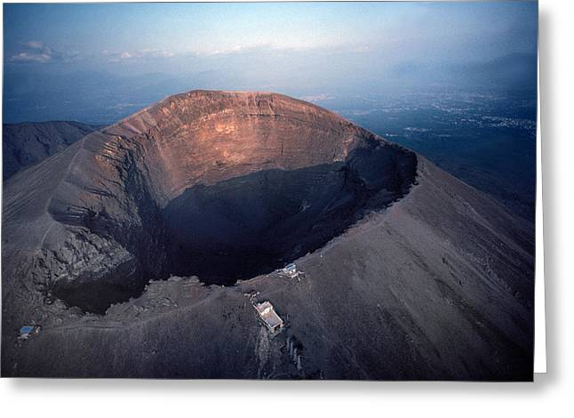 National Geographic - Greeting Cards - Aerial View Over Mount Vesuvius Reveals Greeting Card by O. Louis Mazzatenta