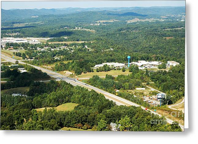 Nicholas Greeting Cards - Aerial view Summersville West Virginia Greeting Card by Thomas R Fletcher