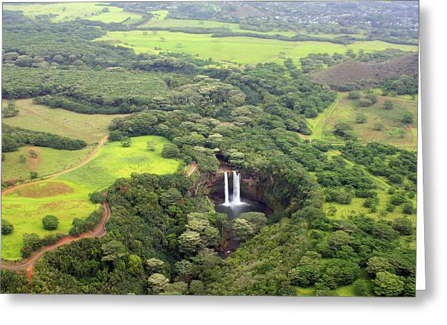 Lush Green Greeting Cards - Aerial Waterfalls Greeting Card by Jeff Bord