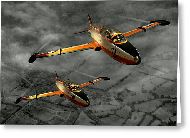 Steven Agius Greeting Cards - Aermacchi in Flight Greeting Card by Steven Agius