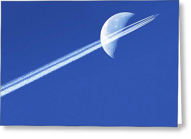 High Altitude Flying Greeting Cards - Aeroplane Contrail Against The Moon Greeting Card by Detlev Van Ravenswaay