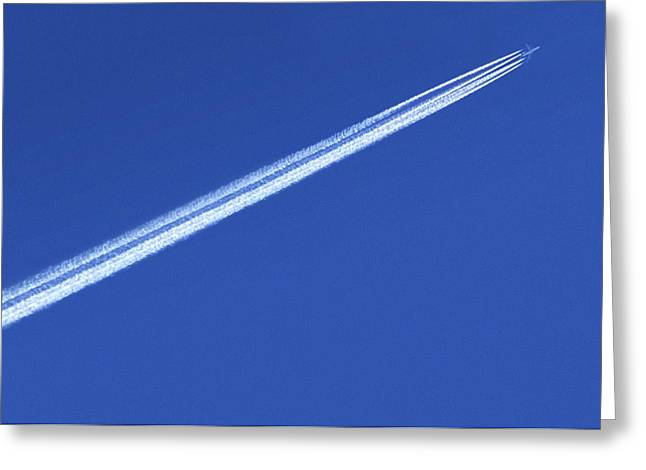 High Altitude Flying Greeting Cards - Aeroplane Contrail Greeting Card by Detlev Van Ravenswaay