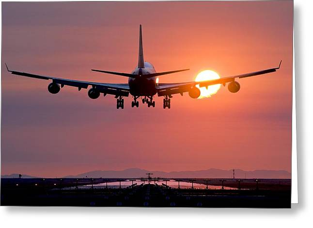 British Columbia Greeting Cards - Aeroplane Landing At Sunset, Canada Greeting Card by David Nunuk
