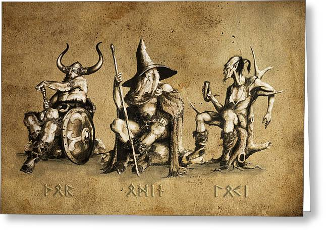 Loki Greeting Cards - Aesir Greeting Card by Ron Scholes